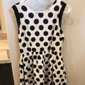 Dresses & Skirts - Black and white polka dot skater dress!